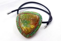 Amazing Vintage Polymer Clay Pendant «Warm Memories» - Handmade Stylish Pendant in Green, Copper and Golden Colors - Friend Birthday Gift by SweetyBijou on Etsy