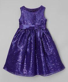 Look at this #zulilyfind! Purple & Blue Sequin Bow Dress - Toddler & Girls by Rosenau Beck #zulilyfinds