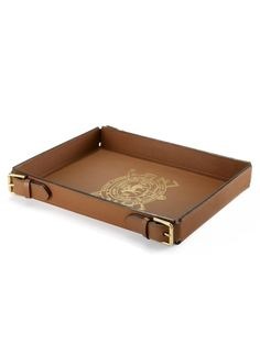 Ralph Lauren Home Bedworth Leather Tray ~ A handsome tray is rendered in rich saddle leather with a golden embossed crest to create the perfect serving piece for the home.
