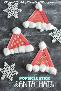 Popsicle Stick Santa Hat Kids Craft. Craft up cute santa hats with your kids using craft sticks, paint, pom-poms, and school glue!
