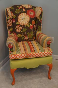 Multi fabric chair reupholster