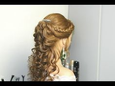 Prom, bridal hairstyles for long hair. Прическа на выпускной, свадебная прическа. - YouTube
