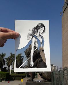 Shamekh sketches his fashion illustrations on paper then meticulously cut out the form of the outfits crafted illustrations was created by Jordan-based illustratorShamekh Al-Bluwi Art And Illustration, Landscape Illustration, Arte Peculiar, Cut Out Art, Newspaper Art, Quirky Art, Art Original, Art Plastique, Cool Drawings