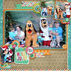 Love this Disney Christmas scrapbook page layout idea!! Super cute!!