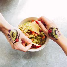 Avocado by Jessi Preston from Tattly Temporary Tattoos Real Tattoo, Fake Tattoos, Avocado Toast, Tattoo Artists, Rolls, Preston, Breakfast, Ethnic Recipes, Food