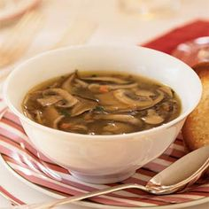 Wild mushroom soup is a savory starter that can be made up to a day in advance. Any combination of mushrooms will work well in this recipe. Reheat over medium heat. Serve with thin toasted baguette slices lightly brushed with olive oil and sprinkled with Wild Mushroom Soup, Mushroom Soup Recipes, Mushroom Stock, Mushroom Recipe, Dried Mushrooms, Stuffed Mushrooms, Stuffed Peppers, Healthy Soup Recipes, Ww Recipes