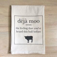 Deja Moo tea towel Haha Funny, Funny Jokes, Hilarious, Funny Stuff, Kid Jokes, Funny Things, Humor, Just For Laughs, Laugh Out Loud