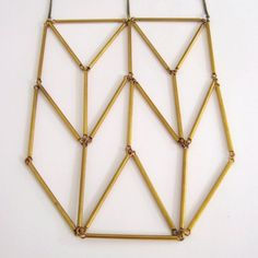 Chevron Triangle Totem Vintage Brass Bar Tube Necklace