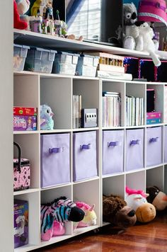Playroom Storage and Face Lift - My Kitchen My Craft Peg Board Shelves, Cube Shelving Unit, Playroom Shelves, Cube Storage, Storage Spaces, Comfortable Pillows, Playroom Design, Table Set Up, Shelf Design