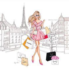 Fashion Illustration Sketches, Woman Illustration, Illustration Artists, Cartoon Girl Images, Girl Cartoon, Glamour Decor, Fashion Wallpaper, Dress Sketches, Fashion Wall Art