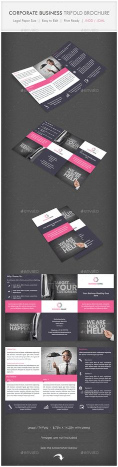 Corporate Business Trifold Brochure Template #design Download: http://graphicriver.net/item/corporate-business-trifold-brochure/11726047?ref=ksioks