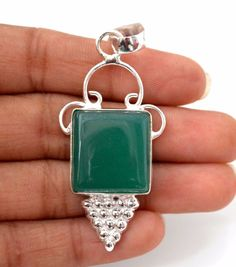 Square Shape Green Onyx 925 Silver Plated Pendant Engagement Gift For Her A10 #valueforbucks #Pendant