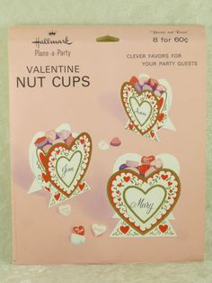 Vintage Hallmark Valentine's Day Hearts & Roses Embossed Nut Candy Cups Favors