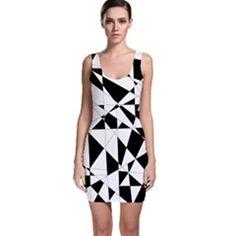 #Stufforsomething #Bodycon #Dresses - Shattered Life In Black & White Bodycon Dress.