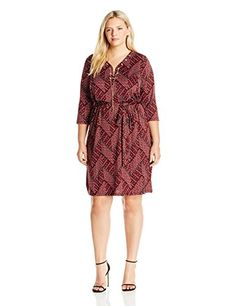 NY Collection Womens Plus Size Printed 34 Sleeve V Neck Dress with Lace up Gold Chain At Neck Peri Fun Twist 1X * Be sure to check out this awesome product.