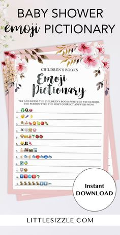 Printable Emoji Pictionary baby shower games by LittleSizzle. Are you looking for an unique baby shower game? Play Children's Books Emoji Pictionary with this blush pink baby shower game with gorgeous watercolor flowers. This game includes very common and classic children's book titles. Guess the names of the children's book described using emojis we all know and love. Simply download, print and play! #emojipictionary #babyshowergames #printables #DIY #pink #girlbab
