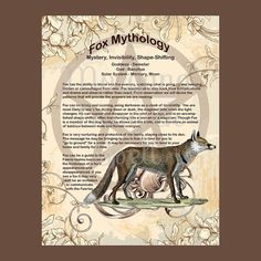 FOX MYTHOLOGY, Digital Download,  Book of Shadows Page, Grimoire, Scrapbook, White Magick, Wiccan, Witchcraft,