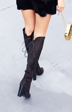 The Billini Evan Boots Black are here and will be your wintery nights go-to shoes, without a doubt! Made from a soft faux black suede, these thigh high boots feature a sultry lace up detail up the calf, with a split at the back of the thigh, inner side zips for ease, an almond shaped toe and stacked heel. We're obsessed with the Billini Evan Boots Black. Wear these gorg shoes with a mini skirt, oversized knit and a hat for an outfit that has us feeling all kinds of style envy! FABRICATION…
