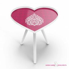 Paisely Heart Side Table : This Paisely Heart Side Table is a charming and quaint. With a beautiful white motif on a lovely pink background, this table is perfect for that tea time setup.