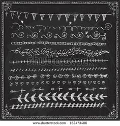 Free Chalkboard Borders | Hand-drawn vector line border set and design element on a chalkboard ...