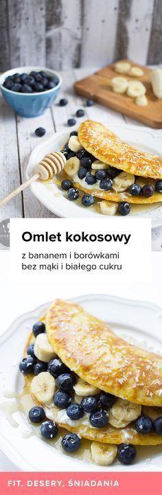 Przepis na kokosowy omlet z bananem i borówkami. Przepis na śniadanie, przepisy missberry, zdrowe śniadanie, pożywny posiłek, zdrowe słodkości, omlet bez mąki.