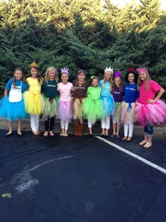 "Our ""take"" on Disney Princesses~labelled tshirts and coordinating tutus. Great for tweens/teens. This was Homecoming ""Character Day"" at school."