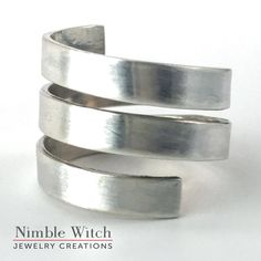 Men's wrap ring in sterling silver, reclaimed silver men's jewelry, wrap around ring for him, adjustable unisex heavy gauge ring for men by NimbleWitchCreative on Etsy