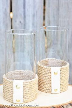 Lovely rope hurricane vase. -30 Awesome DIY Crafts You Never Knew You Could Do With Rope