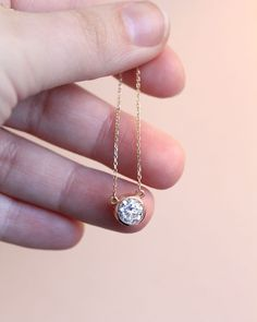 The Bezel Pendant with a 1.50ct Diamond Hybrid in 14k rose gold