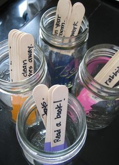 "Chore Sticks!As soon as the kiddos get home from school, they grab their jar  get to work on their chores.  {Their ""chores"" also include things like eating a snack, homework, reading  along with the usual chores like cleaning your room, putting your clothes away, etc…} Have them complete all their chores before dinner.  It makes evenings a lot less stressful,   more family time."