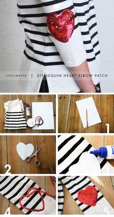 DIY sequin heart elbow patch