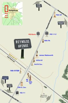 Reynolds Avenue North at Gettysburg.....the monuments on this map are pinned here in this area.....