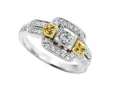 Heirloom Ring - heirloom_ring_interings 18k two tone yellow and white gold ring with .04ct. tw. yellow diamonds and .36ct. tw. white diamonds