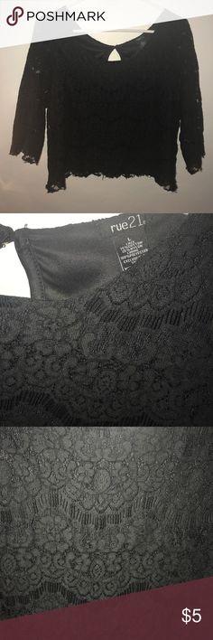 Rue 21 Black Laced Crop Top Rue 21 Black Laced Crop Top Rue 21 Tops Crop Tops