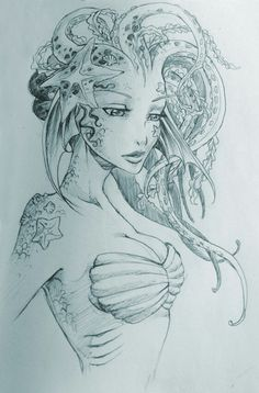 Mermaid Tattoo Sketches: 21 thousand images found … - Drawing Ideas Mermaid Drawings, Mermaid Tattoos, Mermaid Sketch, Mermaid Artwork, Realistic Mermaid Drawing, Drawings Of Mermaids, Siren Tattoo, Octopus Tattoos, Cool Drawings