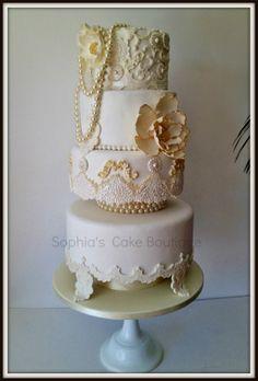 gold wedding cakes   Ivory & Gold Baroque cake — Round Wedding Cakes