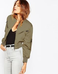 ASOS | ASOS Bomber Jacket in Cropped Length at ASOS