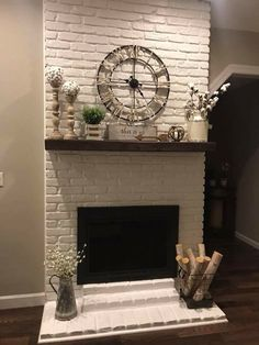 I like the decor pieces fireplace decor 31 Splendid Teal Fall Decoration Ideas Rustic Fireplaces, Farmhouse Fireplace, Home Fireplace, Fireplace Remodel, Fireplace Design, Floating Fireplace Mantel, Rustic Fireplace Decor, Mantles Decor, Brick Fireplace Mantles