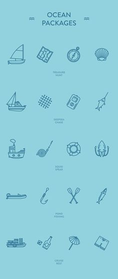 Ocean Packages - Free icon sets by Guillaume Kurkdjian, via Behance (personal use)