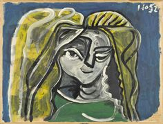 Portrait of Hélène Parmelin Pablo Picasso (Spain, active France, France, 1952 Paintings Oil on paper on canvas 20 x 26 in. x 68 cm) Frame: 28 × 34 × 2 in. × × cm) Partial, fractional and promised gift of Janice and Henri Lazarof Modern Art Pablo Picasso, Picasso Blue, Picasso Art, Picasso Rose Period, Trinidad, Cubist Movement, Georges Braque, Art Moderne, Art Institute Of Chicago