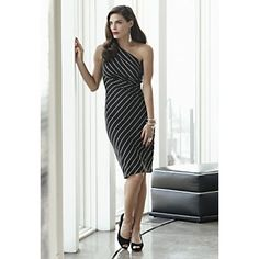 One Shoulder Striped Dress from Midnight Velvet. www.midnightvelvet.com.  Change your stripes! This dress will cause a sensation, in a sexy one shoulder style that slims and skims.