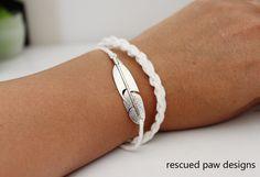 DIY: feather charm crochet bracelet