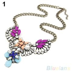 Crystal Flower Bib Choker Chunky Chain Necklace