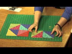 Learn to make this star quilt pattern using brightly colored triangle squares (half square triangles). Eliminate many seams by assembling the parts in rows i. Quilting Tips, Quilting Tutorials, Machine Quilting, Quilting Designs, Star Quilt Blocks, Star Quilt Patterns, Star Quilts, Blanket Patterns, Patchwork Tutorial