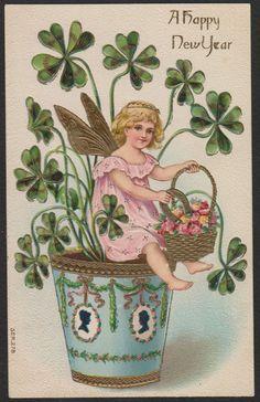 New Year-Fantasy-Fairy-Flower Pot-Silhouette-Clover-Antique Postcard #NewYear