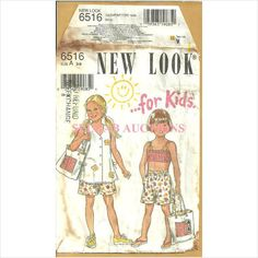 New Look 6516 Sewing Pattern Girls Bikini Cover-Up Shorts Bag Size 3 4 5 6 7 8 039363190851 on eBid Canada