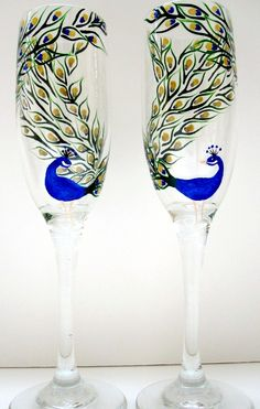 Champagne Flutes- Hand Painted Peacocks- Set of 2