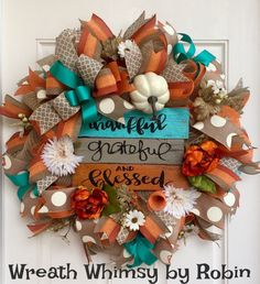 Fall Burlap Mesh Wreath with Hand Made Wood Sign in Orange, Tan & Turquoise, Autumn Wreath, Front Door Wreath, Thanksgiving Decor