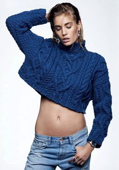 Nadja Bender // statement earrings, cropped blue cable knit sweater & jeans #style #fashion