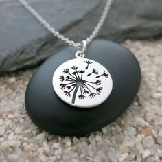 Dandelion Necklace, Sterling Silver Dandelion Charm, Dandelion Jewelry, Wish Necklace by MahaloSpirit on Etsy